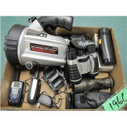 lot with Cobra walkie talkies Vivitar binoculars Galileo monocular rechargeable spotlight not workin
