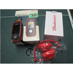 Magellan Triton 300 GPS and Budweiser Bluetooth headphones