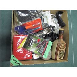 box with zipper pulls Whiskey Bottle compass Etc