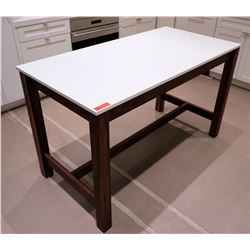 "Contemporary Table w/ Hanstone ""Aurora Snow"" Top 5' x 30"" x 3' H"