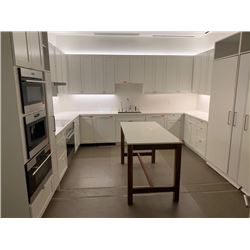 "Approx. 11 White Upper Cabinets w/ Melamine Shelving 40"" H & 30"" H (Width Measurements Listed)"