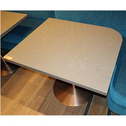 "Brown Polished Natural Stone Table w/ Rounded Corner 36"" x 30"" (no dents or dings)"