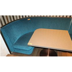 "Teal Blue Curved Banquette (Chenille Upholstered), Approx. 6' Overall L, 27.5"" Depth"