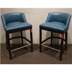 ENO Low Back Bar Stools w/Blue Leather (purchased for $4537 each stool)