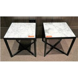 "Pair of White Natural Stone Side Tables w/ Dark Wood Base 17.5"" x 17.5"""