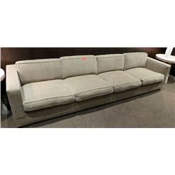 "Long Beige/Brown Sofa - 10'6 L, 35"" Back to Front, 25"" Frame Height"