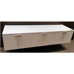 6-Door Wall-Mount Floating Cabinet System w/ White Stone Top 81 x 24 x 18H