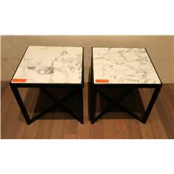 "Pair of White Natural Stone Side Tables w/Dark Wood Base 17.5"" x 17.5"""