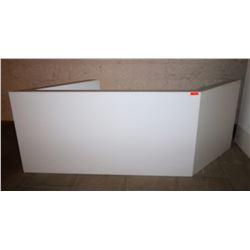 "White Geometric Reception Desk/Station  7' Front, 7' Back, 42"" H, 25.5"" Depth"