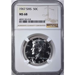 1967 SMS KENNEDY HALF DOLLAR NGC