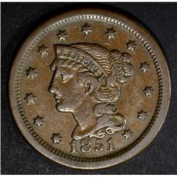 1851 LARGE CENT, XF N-37 R-6 VERY RARE!