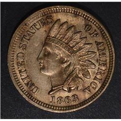 1863 INDIAN CENT, CH BU a few spots