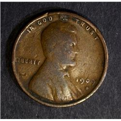 1909-S LINCOLN CENT, VG+