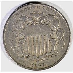 1876 SHIELD NICKEL, VF/XF