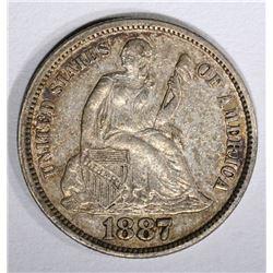 1887 SEATED DIME, ORIG. AU
