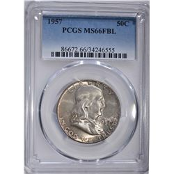 1957 FRANKLIN HALF DOLLAR PCGS MS66FBL