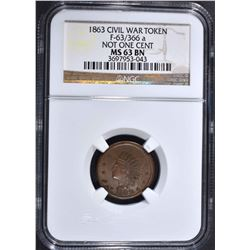 1863 CIVIL WAR TOKEN NOT ONE CENT
