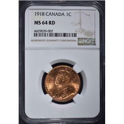 1918 ONE CENT CANADA NGC MS 64 RED
