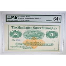 1870s $5 MANHATTAN SILVER MINING CO.