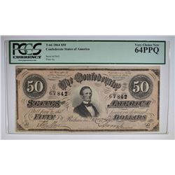1864 $50 CONFEDERATE STATES OF AMERICA