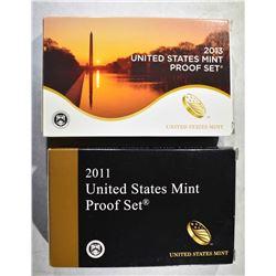 2011 & 13 U.S. PROOF SETS IN ORIG PACKAGING