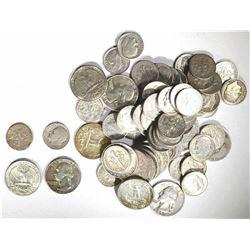 $20 90% SILVER MIX: DIMES & QUARTERS 1964/EARLIER