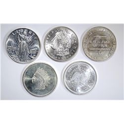 5-DIFFERENT ONE OUNCE .999 SILVER ROUNDS