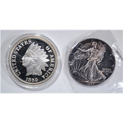 2-DIFFERENT 2 OUNCE .999 SILVER ROUNDS