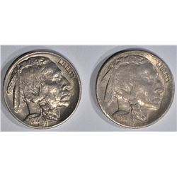 BUFFALO NICKELS:  1918 AU, 1916-S XF WITH LUSTRE
