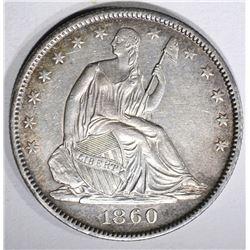 1860-O SEATED HALF DOLLAR, AU/BU