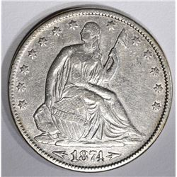 1874 WITH ARROWS SEATED HALF DOLLAR, XF