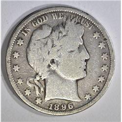 1896-O BARBER HALF DOLLAR, VG+