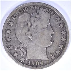 1906-S BARBER HALF DOLLAR, FINE