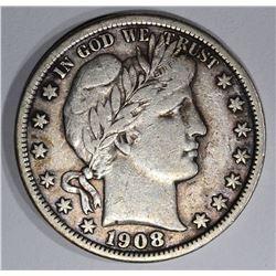 1908-D BARBER HALF DOLLAR, VF