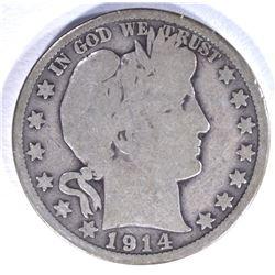 1914 BARBER HALF DOLLAR, G/VG