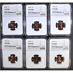 6 1964 LINCOLN CENTS NGC PF-67 RD
