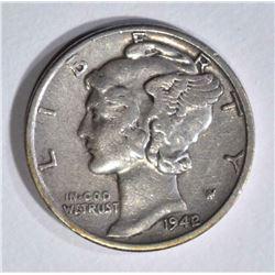 1942/1 MERCURY DIME  XF
