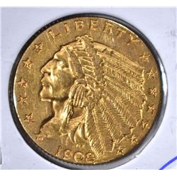 1908 $2 1/2 GOLD INDIAN HEAD  BU