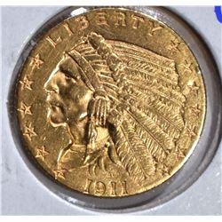 1911 $2 1/2 GOLD INDIAN HEAD  CH BU