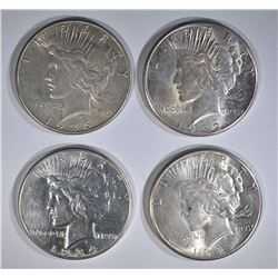 4 PEACE DOLLARS: 1922-S UNC; 1926-S XF;