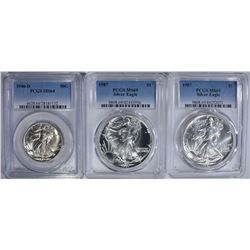 3 PCGS COIN LOT:  (2) 1987 MS69