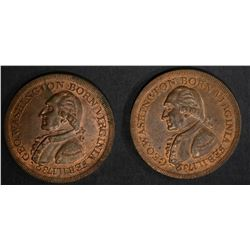 2-WASHINGTON BORN RESTRIKE MEDALS, BU
