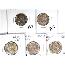 JEFFERSON NICKELS: 2-1939-D, GEM BU & 3-50-D GEM
