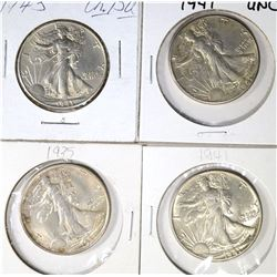 1935 2-41 & 1-43 WALKING LIBERTY HALVES CH BU