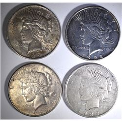 4-DIFFERENT CIRC PEACE DOLLARS