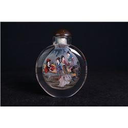 "An inside-painted glass ""Ladies"" snuff bottle."