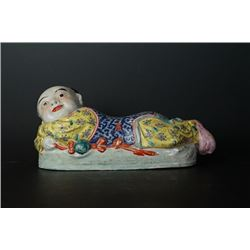 "Republican Era ""Boy Lying"" Chinese Porcelain Pillow."