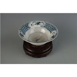 "Qing Dynasty Blue-and-White Bowl with ""Rabbit"" Mark."