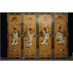 "A Set of Four ""Lady"" Hanging Screens."