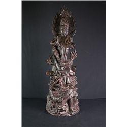 A Rosewood Carved Guan Yin (Avalokitesvara) Statue.